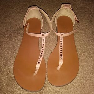 Loft Rose Gold T-Strap Sandals Size 6